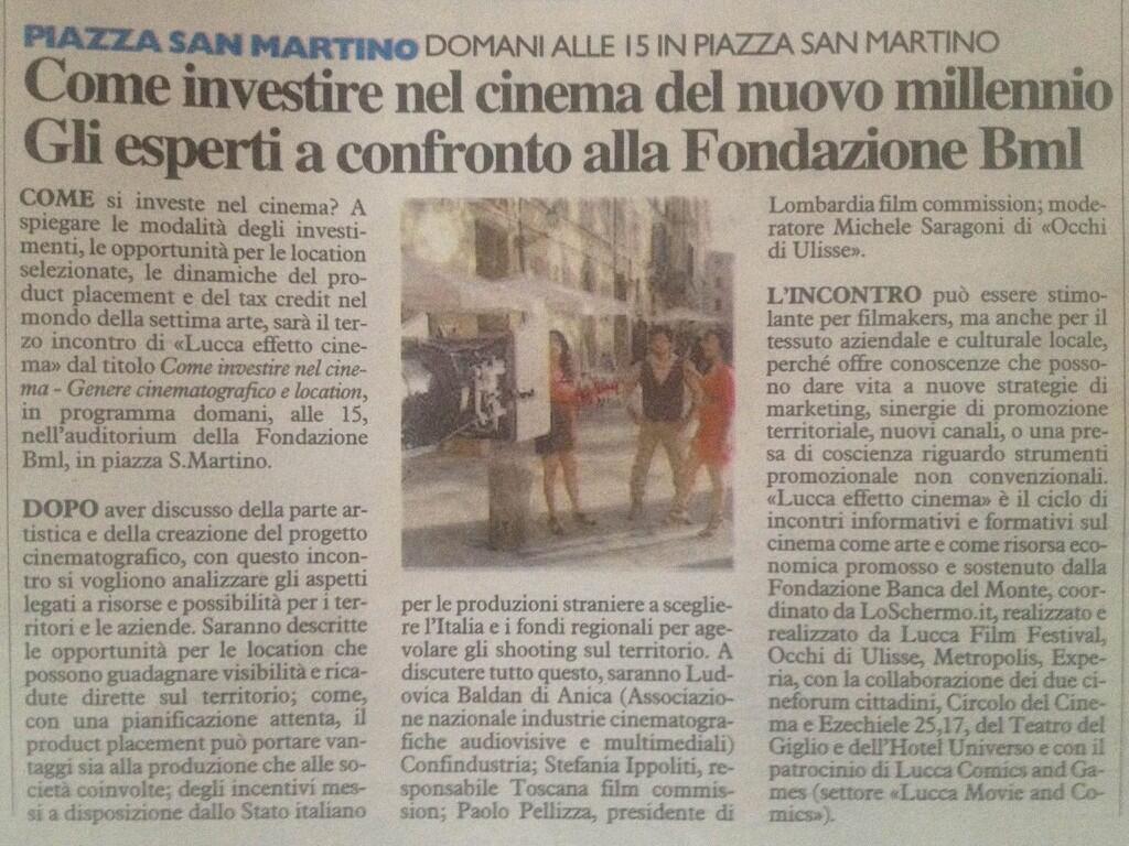 Ecco l'articolo uscito oggi su @qn_lanazione riguardo al nostro incontro di domani #luccacinema http://t.co/pTaMV72MUI