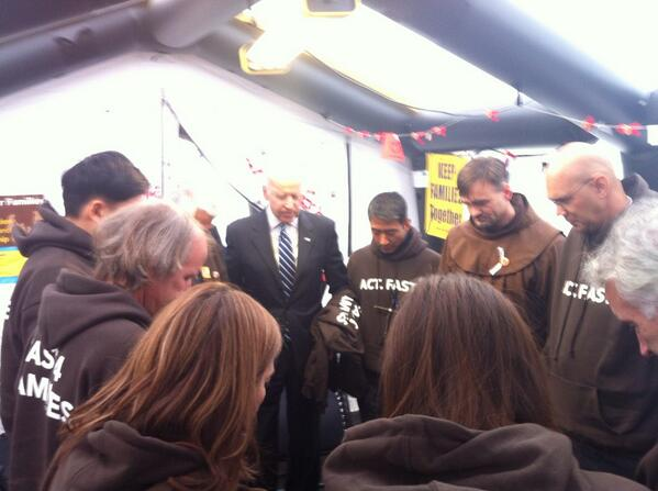 The Vice President took a moment to pray with the fasters on day 11 of their journey #Fast4Families http://t.co/FTS4cZs1LB