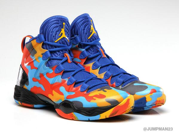 The AJXX8 SE gets a fresh camo colorway inspired by @russwest44 that hits shelves tomorrow. #TeamJordan http://t.co/deCYWYTsYZ