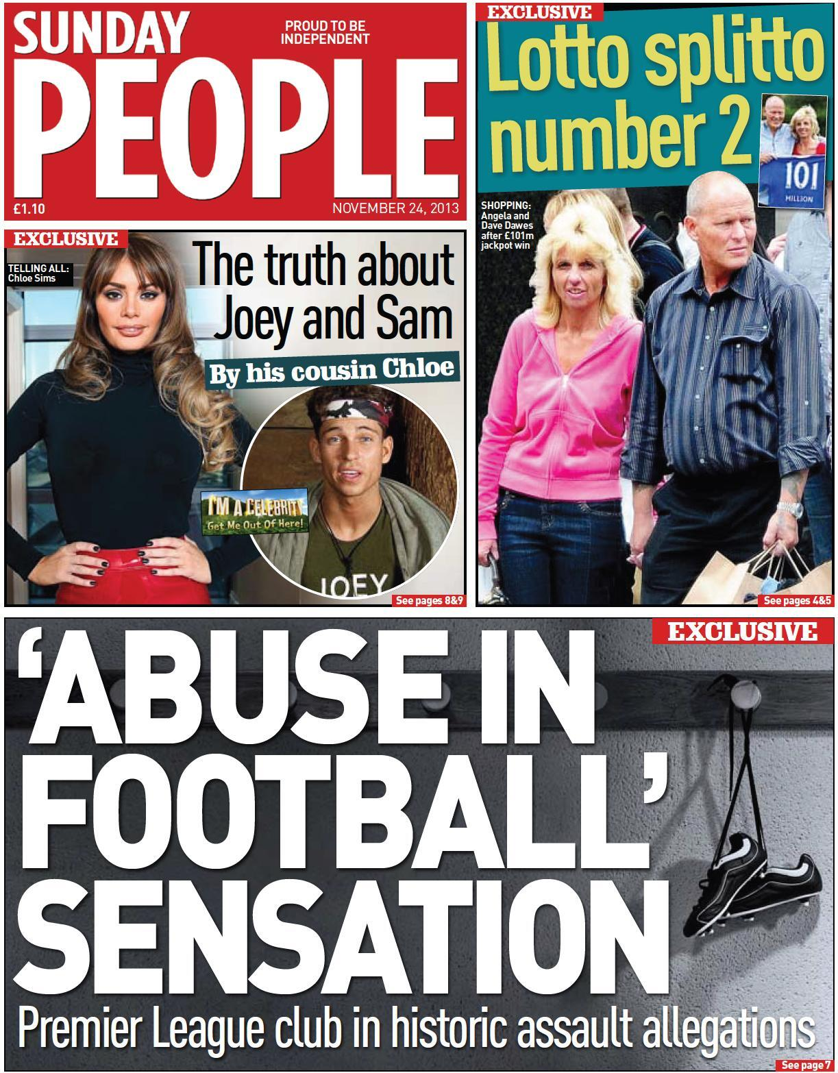 Sunday People front page: Abuse in football   Premier League club in historic allegations [Exclusive]