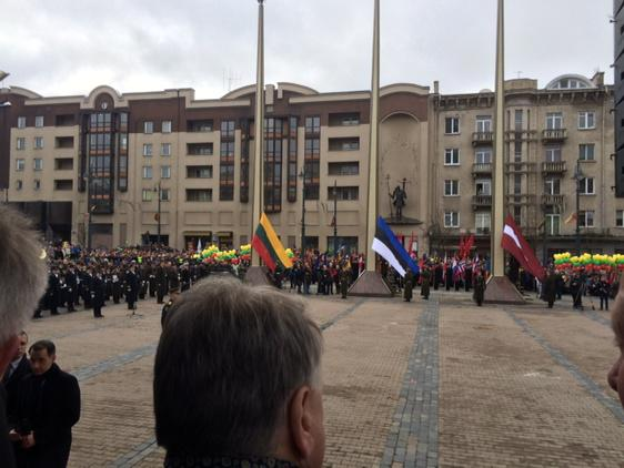 The flags of Lithuania, Estonia and Latvia about to be raised. http://t.co/0y1Er3CqIe