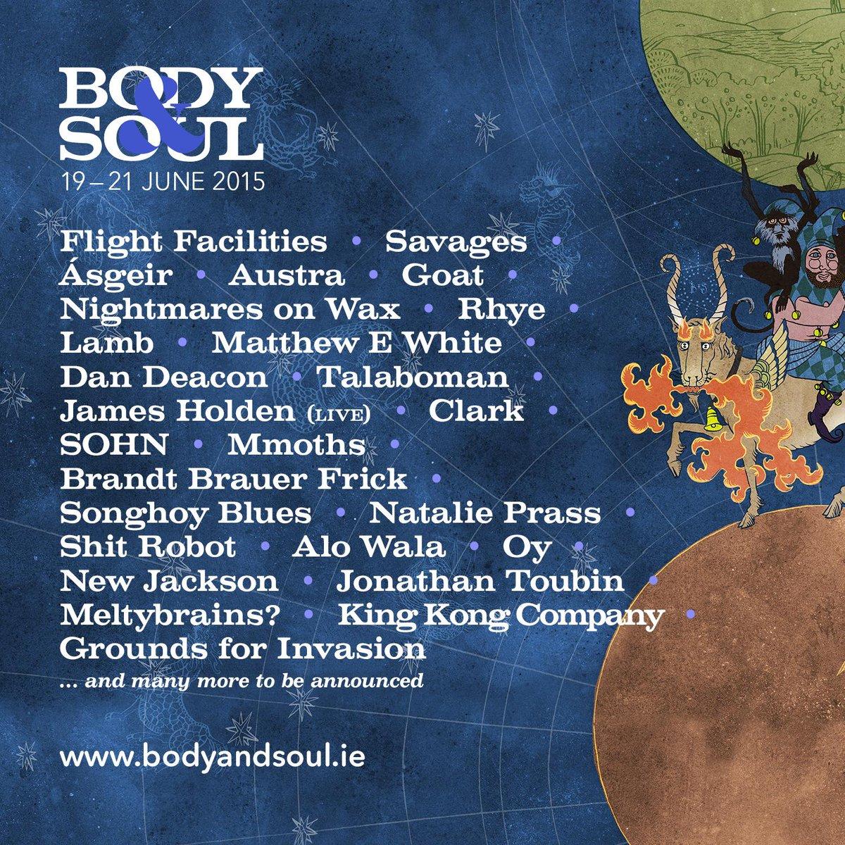 Body&Soul 2015 Lineup. June 19-21.  Tickets: http://t.co/uL1I11zvjn Delve Deeper: http://t.co/Fn4tq57Po7 http://t.co/3iek3UbqrV