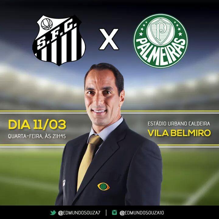 Hoje o Palmeiras enfrenta o Santos, vamos assistir pela BAND e dar aquela moral pro @edmundosouza7. http://t.co/BMRn54kuf9