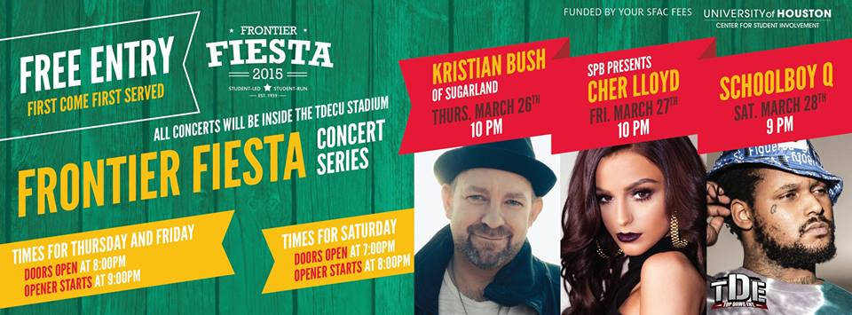 """@UHouston: 2015 @FrontierFiesta Concert Series Headliners: Kristian Bush of Sugarland, Cher Lloyd and Schoolboy Q. http://t.co/ItCCl8A1Vm""."