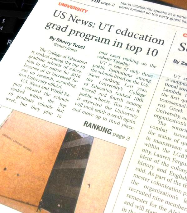 UT College of Education #3 among public universities! http://t.co/ugR6djX6bD @USNewsEducation #Edu #UTAustin http://t.co/DrkISHnJCF