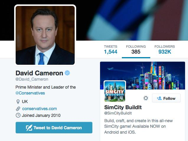 Why is David Cameron following Sim City http://t.co/NS7AC9mWXM