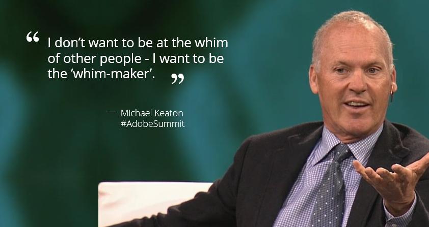 #AdobeSummit - @MichaelKeaton on hard work and success http://t.co/F7wAJbbtlj