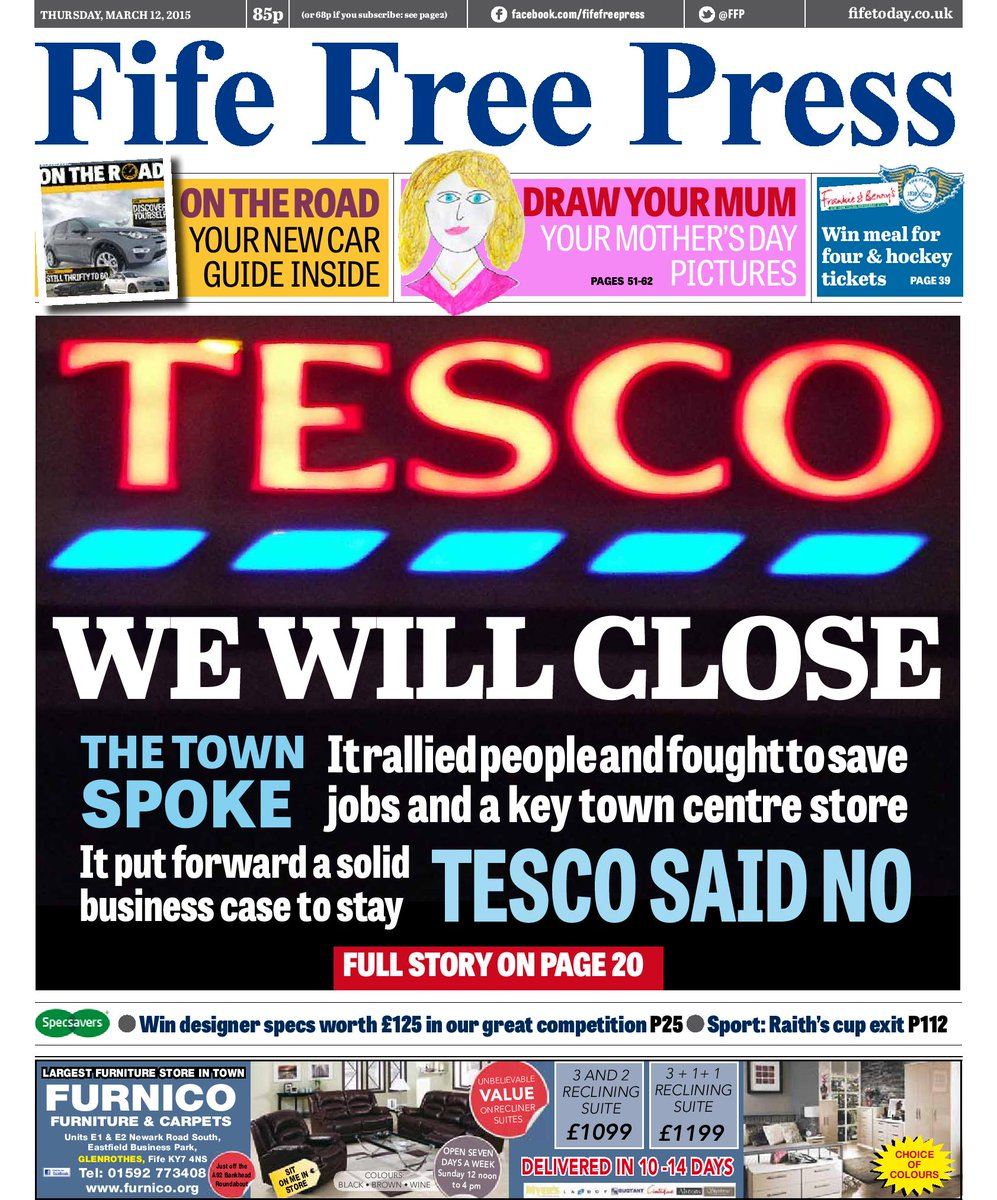 BREAKING NEWS: Tesco Kirkcaldy branch WILL close - full story & reaction in tomorrow's @FFP - here's our front page http://t.co/CNy7COGAGr