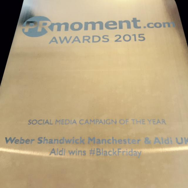The winner of Social Media Campaign of the Year is @WS_Manchester & @AldiUK. Congratulations! #prmomentawards http://t.co/Ickus0KQfU