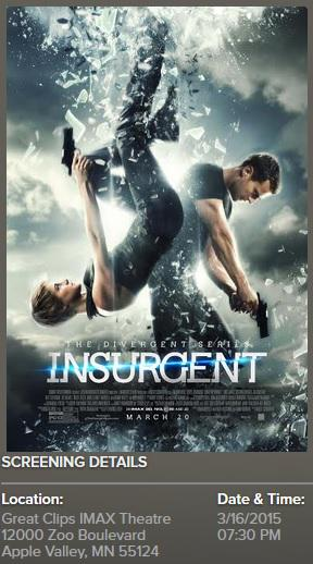 Hey Minn peeps, wanna win tix to this #INSURGENT screening on Monday? RT to enter. Winners will be notified by 3/15 http://t.co/UaRJnMXjgM