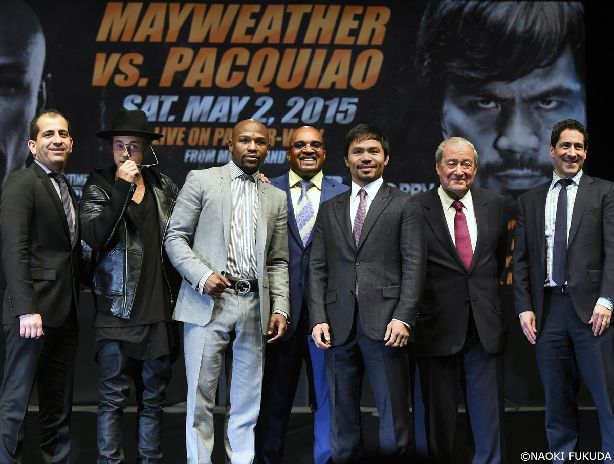 """フロイド・メイウェザーとマニー・パッキャオの記者会見が行われました。実現が期待されていた""""世紀の対決""""がラスベガスで開催されます! #wowow #ボクシング #boxing http://t.co/qU6l4Ecx2d"""