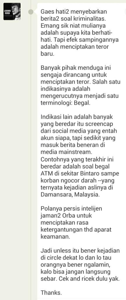Dibaca ya gaes... Ati2 soal nyebar2in berita begal... Thx http://t.co/O40OLAax05