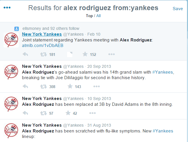 Mentions of A-Rod from @Yankees: http://t.co/jKOivSDJ1u