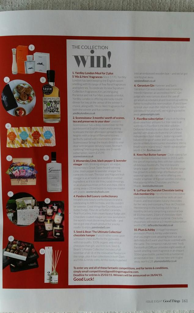 """Have you got your March copy of @GoodThingsUK yet? Win goodies incl. our """"drop dead gorgeous"""" LimeBPL vinegar http://t.co/a1VqbvXmHH"""