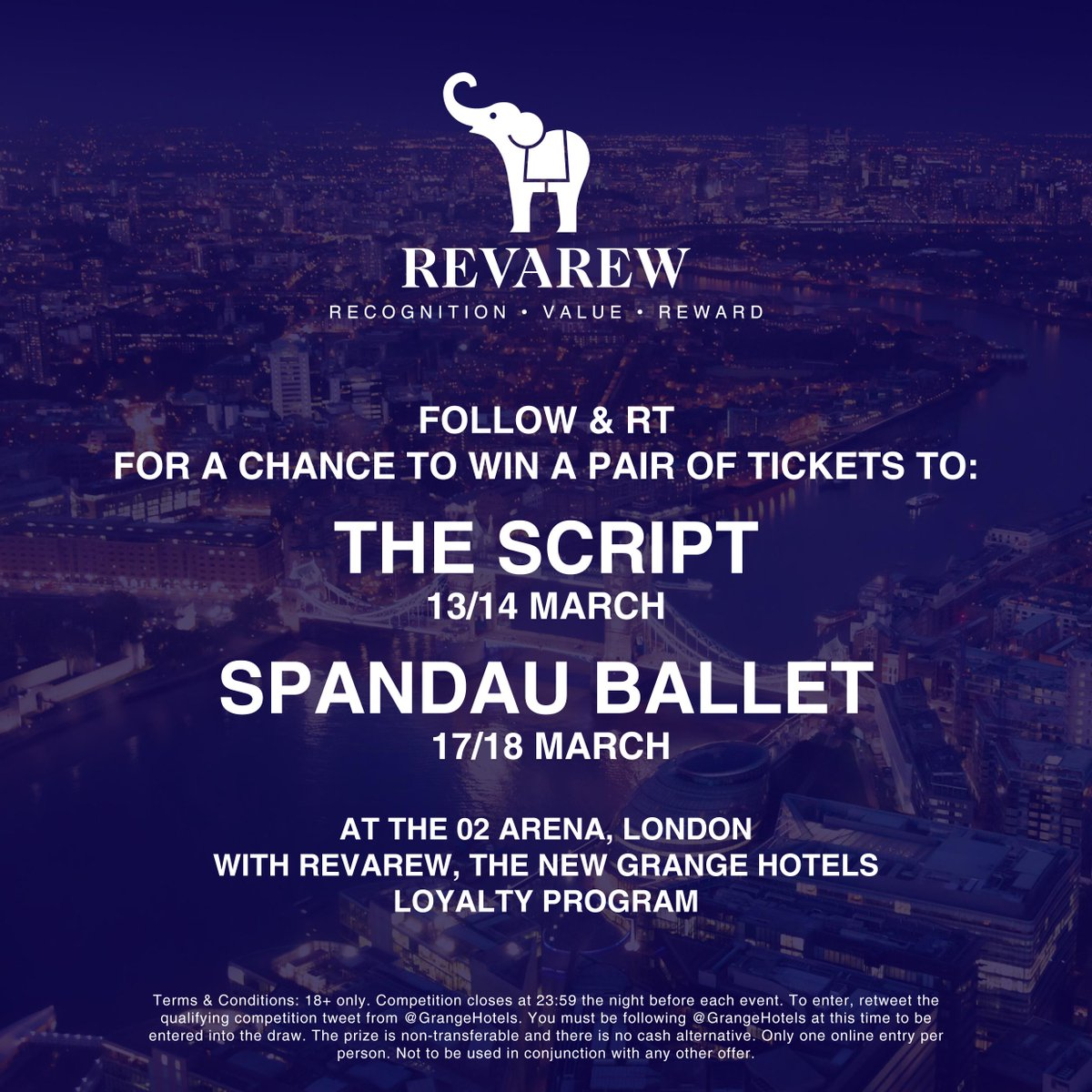 This is your chance to WIN tickets for @thescript and @SpandauBallet at @TheO2 with our new loyalty program #Revarew http://t.co/6RZ1f5XdXS