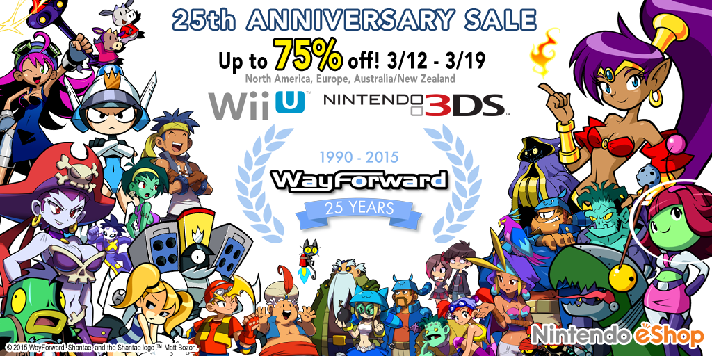 Today is the day! #WayForward's 25th Anniversary #Nintendo Sale starts now – up to 75% OFF! http://t.co/a5DUwMIqVZ http://t.co/fEJz2hA3rT