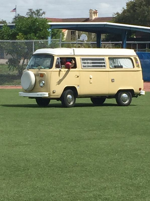 Stole Daniel norris' van and drove it on the infield.... Smooth ride but I need some power steering. #vwvansaresweet http://t.co/9Xn7NjIhhg