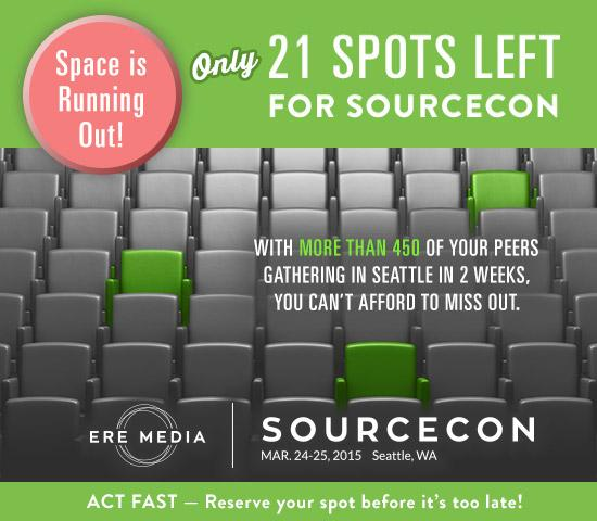 Only 21 spots left to join over 450 of your peers at #SourceCon! Don't wait - sign up now http://t.co/S8gILvf1VV http://t.co/9syUY0tBbm