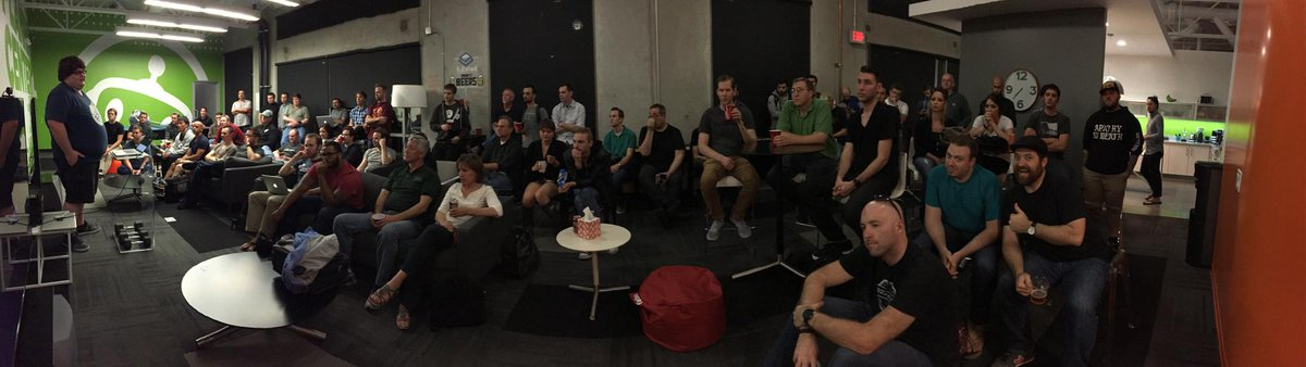 Over 60 attendees at @FullStackTalks tonight for our talks on Swift and React.js! Going strong in our third year! http://t.co/NxabNcDC07