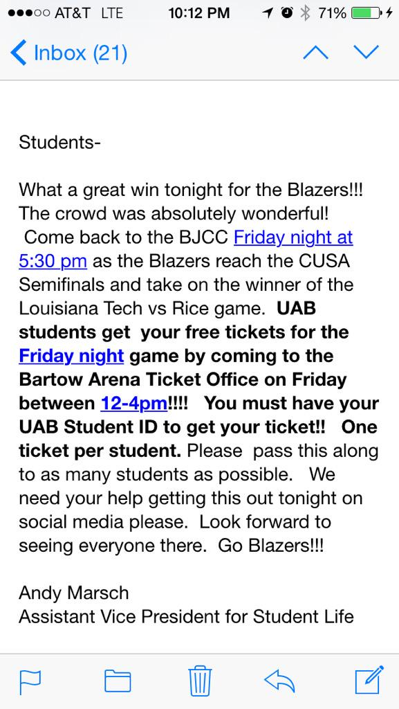 UAB students - please come out to support @UAB_MBB tomorrow night! http://t.co/Z8uC7aZwAP
