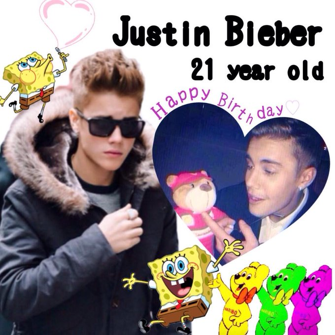 Justin Bieber 21 year old Happy Birthday                           I love Justin