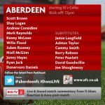 Aberdeen team to face Celtic this lunchtime- kick off 12pm! #DonsLIVE http://t.co/e7A2Vqk5p9