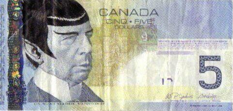 """Go Canada! Canadians """"Spock"""" their banknotes to honor Leonard Nimoy http://t.co/p6ufd8RLjI http://t.co/q8Auj0FE1e"""