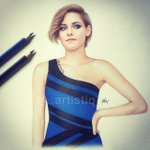 """""""@_artistiq: My drawing of Kristen Stewart in a blue and black dress! Or is it white and gold? ???? http://t.co/vuyLVG0dNM"""" ????????????"""