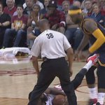 Things getting heated in Cavs-Rockets. James Harden whistled for technical foul after appearing to kick LeBron James. http://t.co/cYPLhGaPE8