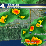 Heavy rain in LA & the valley. Small hail also being reported. #carain #hail This is slowly drifting north. http://t.co/4daC5RkWqB