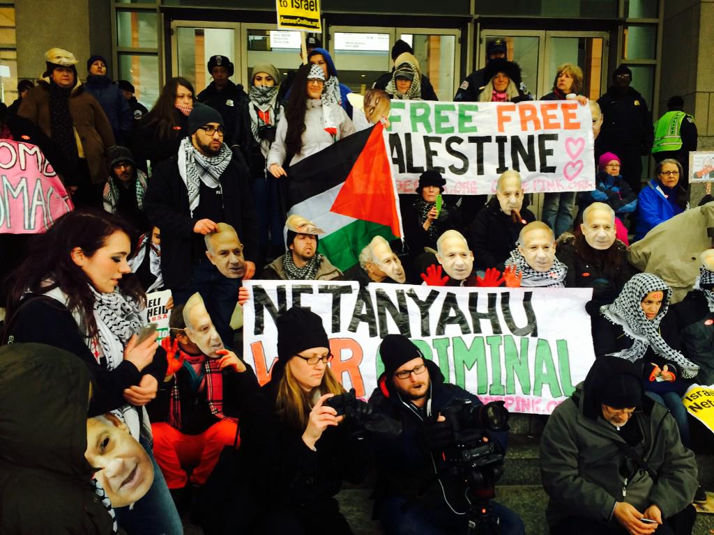 Activists blocking doors to #AIPAC2015 conference now!! http://t.co/dZrot2GrtR