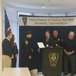 Norwalk officer Robertson being honored by @SenBlumenthal for saving a woman from a train accident last week. Kudos! http://t.co/jcoxAI8reH