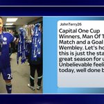 SOCIAL: John Terry posted this on Instagram after @ChelseaFC won the @CapitalOne_Cup. #SSNHQ http://t.co/pFyMmLSydx