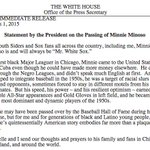 """""""For South Siders and Sox fans all across the country...Minnie Minoso is and will always be Mr. White Sox."""" —Obama: http://t.co/KitHSZodcm"""