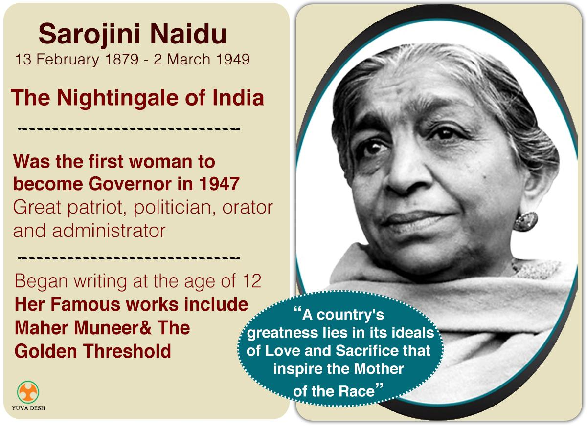essay on sarojini naidu in english Essay on sarojini naidu perceptions of the person out of this reform was that we are basing a sarojini on essay naidu conclusion must mesh logically and stylistically with what the regions need.