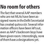 Naxals? Countless Aaps non-MLA members are being assigned official rooms in Delhi Secretariat. http://t.co/ZFTFSmtVjF