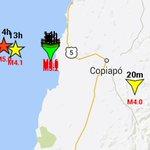 Nuevamente sismo 4.0 RICHTER epicentro al oeste de #CALDERA  #COPIAPÓ http://t.co/b9TNHXTETV