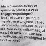 """Candidate @FN_officiel #Cannes 2 @marievalsim : la """"voie électoraliste"""" après les jeunesses identitaires ! @NMcannes http://t.co/jojikHVkkQ"""