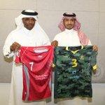 """تقرر أن يخوض #النصر المباراة غداً بالطقم الزيتي المموج """" الجيشي """" على ان يرتدي نادي لخويا القطري الطقم الاحمر . #NFC http://t.co/BIQ4aD3dNO"""