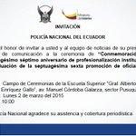 Pasa la voz. 10:00 Ceremonia aniversario @PoliciaEcuador. Lugar #ESP. Pusuquí. Favor RT http://t.co/7SFWFMX6BV