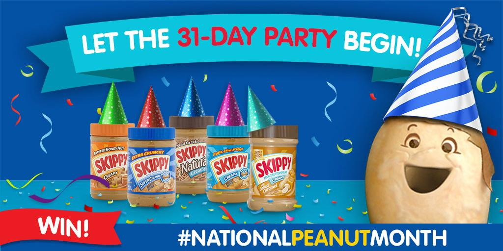 """National Peanut Month is all me, but let's make it all you! RT for a chance to win @SKIPPY PB http://t.co/0pfH2hI91g http://t.co/n2A0392iJk"""""""