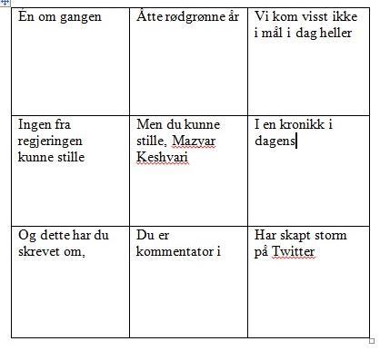 """Ganske god dax18-bingo: """"@Rotevatn: Har laga dax18-bingo med @audunrod og er klar for kveldens sending. http://t.co/tkm3IUe9U7"""" #nrkdebatt"""