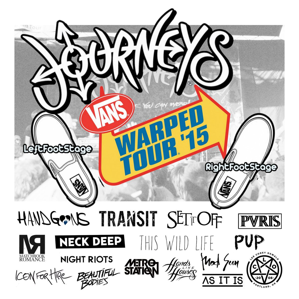 UPDATED lineup for  @journeys Stage @VansWarpedTour   STAGE IS STACKED THIS YEAR!!   #leftfootstage #rightfootstage http://t.co/KxaZPL2f2p