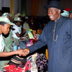President Jonathan inspecting products of NYSC Empowerment Scheme at the NYSC Honours Award at the Villa, Mon. http://t.co/mIFbUPPWft