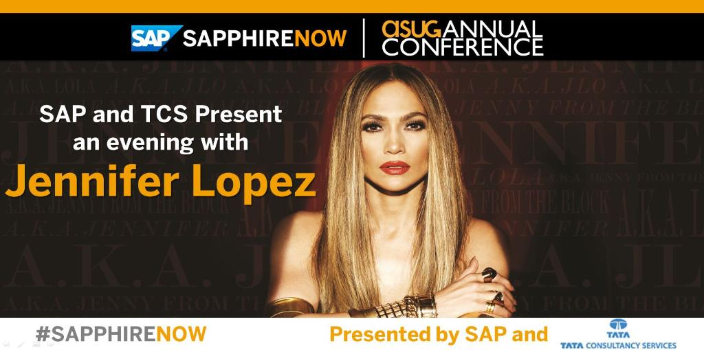BIG NEWS! SAP, together with @TCS_SAP, present an evening with @JLo! http://t.co/ZrBRTUDA7x #SAPPHIRENOW http://t.co/gtUgYJBEYg