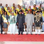President Jonathan in a group photo with honorees at the 2012-2014 Presidents NYSC Honours Award at the Villa, Mon. http://t.co/0397d0SpJ0