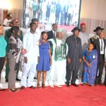 President Jonathan in a group photo with members of NYSC Hope Alive at the NYSC Honours Award at the Villa, Mon. http://t.co/dxt0THcnHf