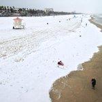 Surfer stretches in a blanket if hail in Huntington Beach. @latimesphotos hotos http://t.co/Kx4MHDBk4z