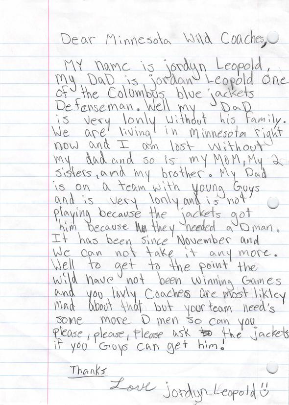Leopold's 11 Year old daughter wrote the @MNWild a letter pleading for trade...AND IT WORKED! http://t.co/C4ctmymTZp http://t.co/Nkvrm59X4C