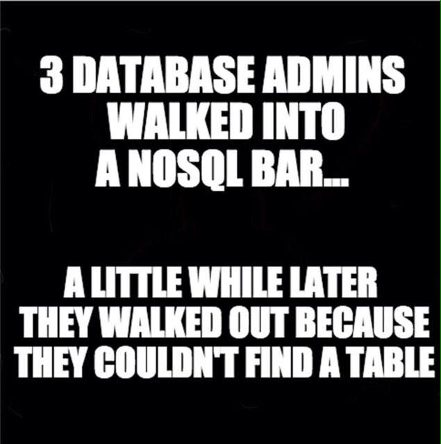3 DBAs walk in to a bar... http://t.co/bb5JPFCgOk